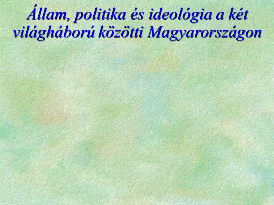 Állam, politika és ideológia a két világháború közötti Magyarországon