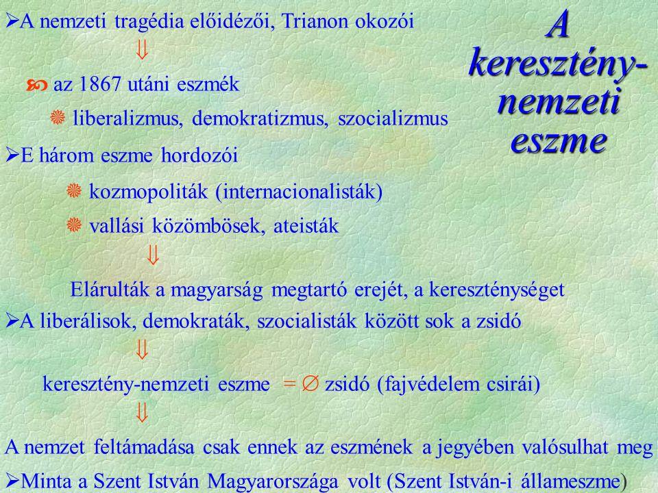 A keresztény- nemzeti eszme  A nemzeti tragédia előidézői, Trianon okozói   az 1867 utáni eszmék  liberalizmus, demokratizmus, szocializmus  E há