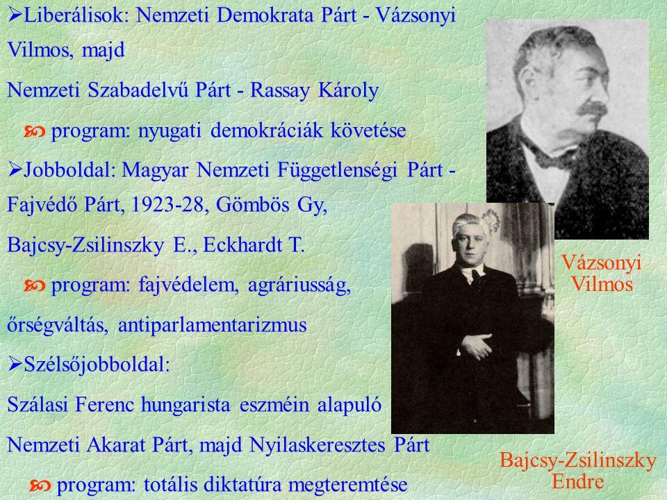  Liberálisok: Nemzeti Demokrata Párt - Vázsonyi Vilmos, majd Nemzeti Szabadelvű Párt - Rassay Károly  program: nyugati demokráciák követése  Jobbol