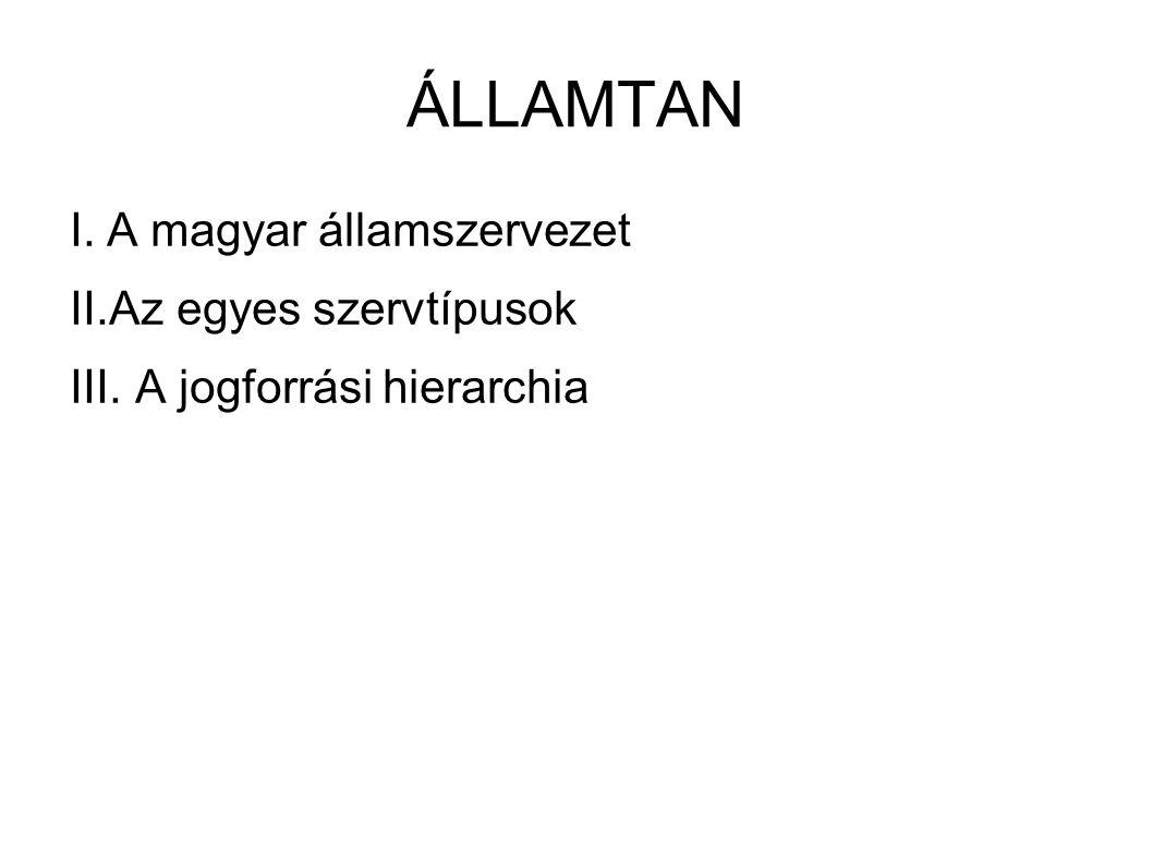 ÁLLAMTAN I.A magyar államszervezet II.Az egyes szervtípusok III. A jogforrási hierarchia