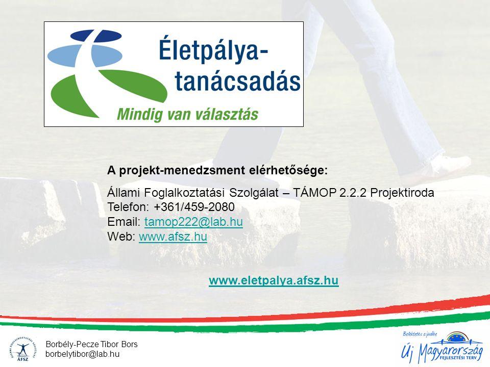 Borbély-Pecze Tibor Bors borbelytibor@lab.hu A projekt-menedzsment elérhetősége: Állami Foglalkoztatási Szolgálat – TÁMOP 2.2.2 Projektiroda Telefon: +361/459-2080 Email: tamop222@lab.hu Web: www.afsz.hutamop222@lab.huwww.afsz.hu www.eletpalya.afsz.hu