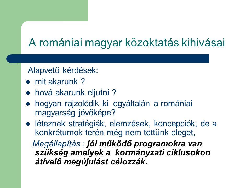 A romániai magyar közoktatás kihivásai A pedagógusok létszámának alakulása TanévÖsszesenRománMagyar 2004-2005 38107613049 2005-2006 36847402944 2006-2007 36627322930 2007-2008 35387172821 2008-2009 33186732645 2009-2010 31026282474