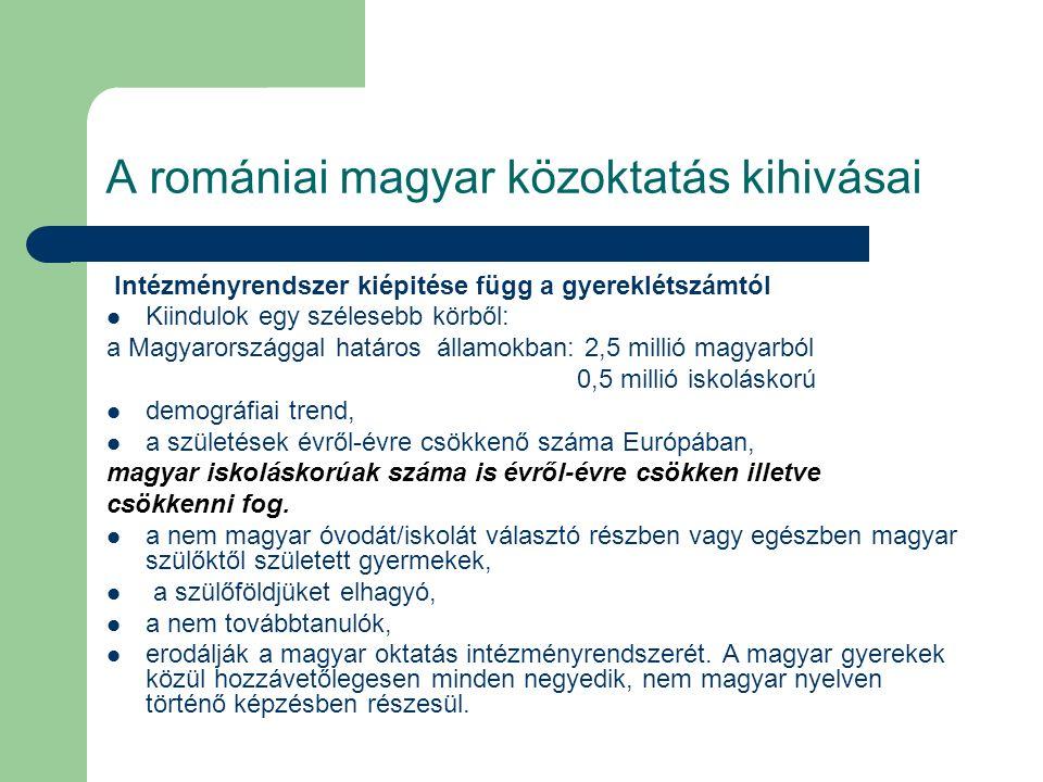 A romániai magyar közoktatás kihivásai a választ a fenntarthatóság jegyében kell vizsgálni/elemezni, a gyermeklétszám továbbra is csökken, az elöregedés folyamata jelen van az egész kontinensen, de az oktatás minőségén javitani kell, jól felszerelt iskolákban jól képzett pedagógusokra kell bizni a tanulók nevelését- képzését.