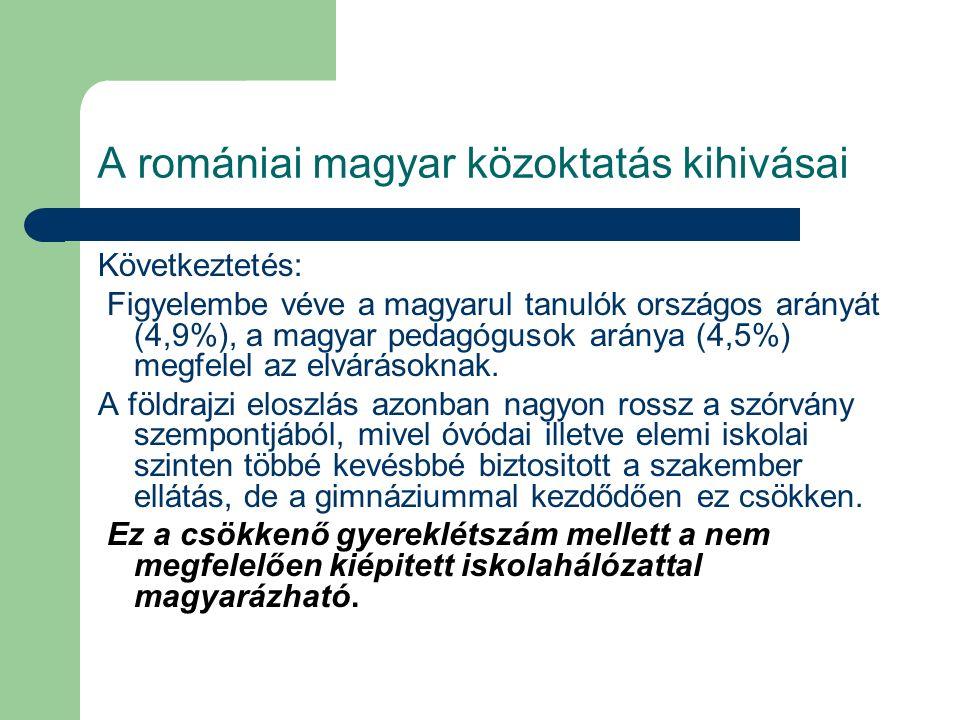 A romániai magyar közoktatás kihivásai Következtetés: Figyelembe véve a magyarul tanulók országos arányát (4,9%), a magyar pedagógusok aránya (4,5%) m