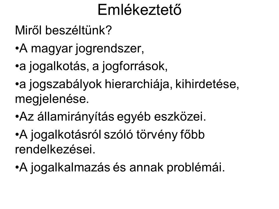 Emlékeztető Miről beszéltünk? A magyar jogrendszer, a jogalkotás, a jogforrások, a jogszabályok hierarchiája, kihirdetése, megjelenése. Az államirányí