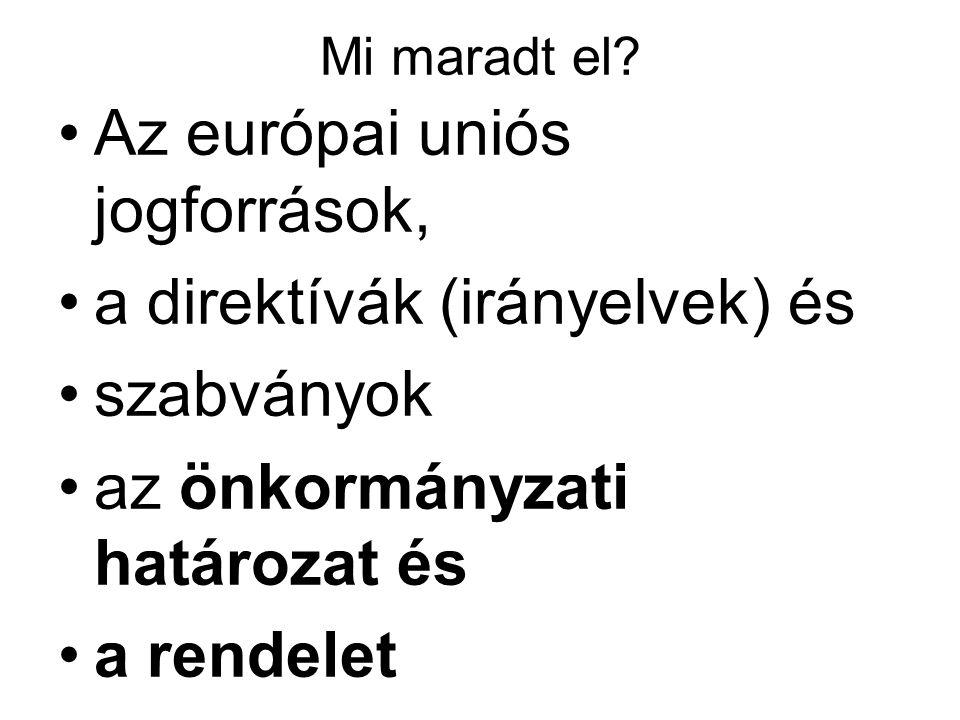 A rendelet A jogegységesítés elsődleges eszköze Normajellegű aktus Hatálya a Tagállamokra Azok állampolgáraira EU intézményeire terjed ki kötelező erővel.