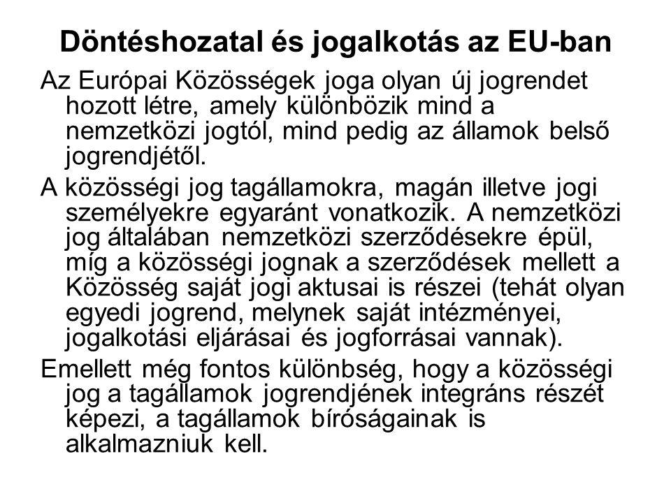 Döntéshozatal és jogalkotás az EU-ban Az Európai Közösségek joga olyan új jogrendet hozott létre, amely különbözik mind a nemzetközi jogtól, mind pedi
