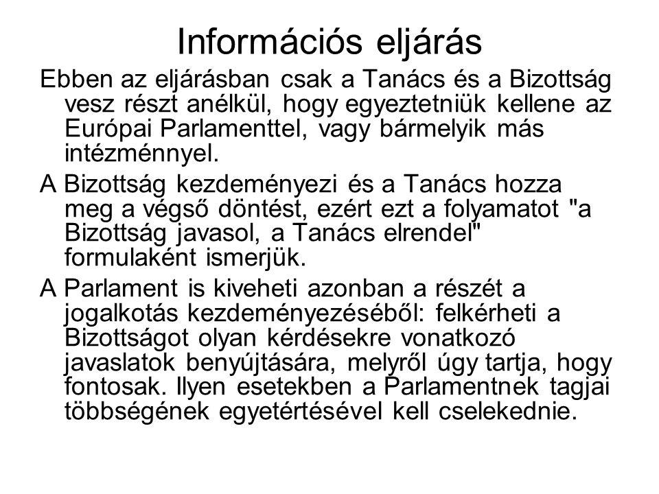 Információs eljárás Ebben az eljárásban csak a Tanács és a Bizottság vesz részt anélkül, hogy egyeztetniük kellene az Európai Parlamenttel, vagy bárme
