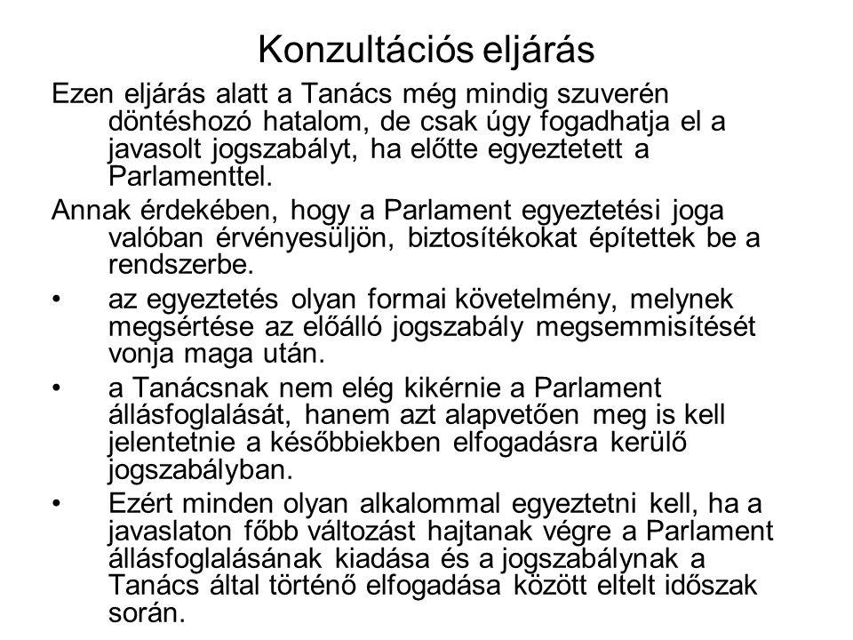 Konzultációs eljárás Ezen eljárás alatt a Tanács még mindig szuverén döntéshozó hatalom, de csak úgy fogadhatja el a javasolt jogszabályt, ha előtte egyeztetett a Parlamenttel.
