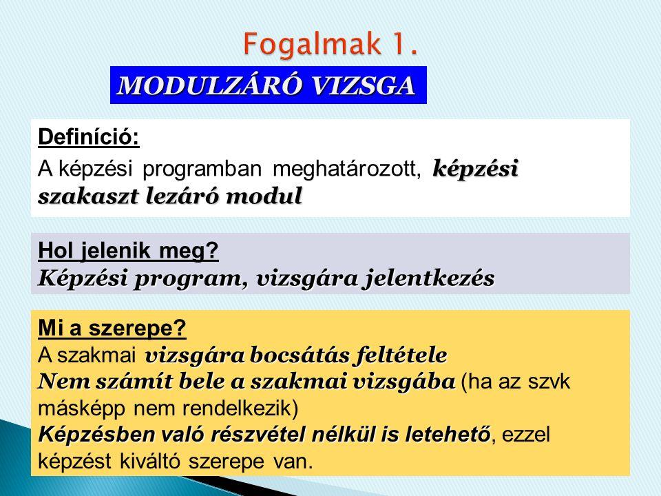 Definíció: képzési szakaszt lezáró modul A képzési programban meghatározott, képzési szakaszt lezáró modul Mi a szerepe.