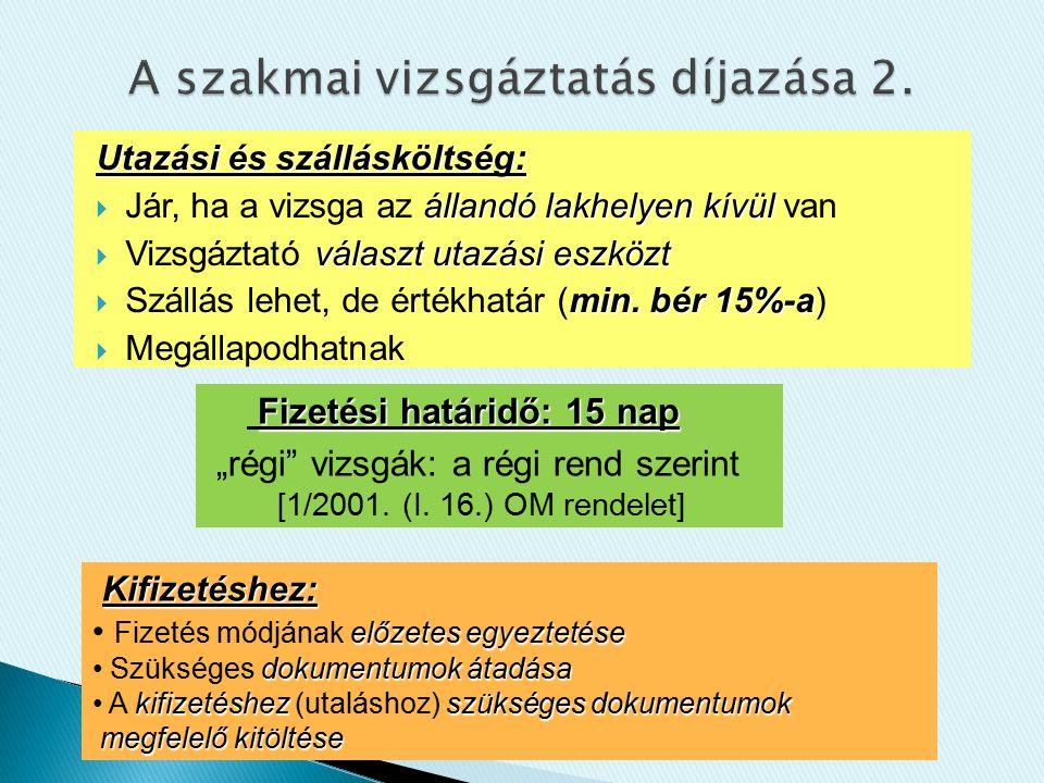 Utazási és szállásköltség: állandó lakhelyen kívül  Jár, ha a vizsga az állandó lakhelyen kívül van választ utazási eszközt  Vizsgáztató választ utazási eszközt min.