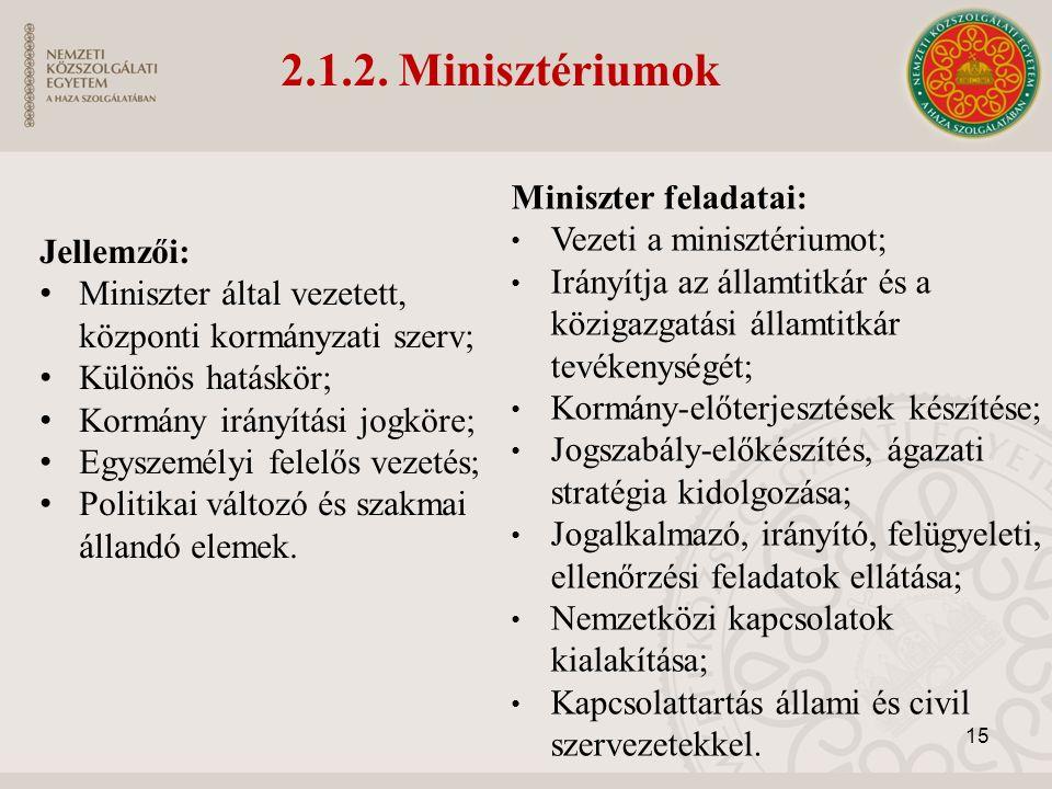 Miniszter feladatai: Vezeti a minisztériumot; Irányítja az államtitkár és a közigazgatási államtitkár tevékenységét; Kormány-előterjesztések készítése; Jogszabály-előkészítés, ágazati stratégia kidolgozása; Jogalkalmazó, irányító, felügyeleti, ellenőrzési feladatok ellátása; Nemzetközi kapcsolatok kialakítása; Kapcsolattartás állami és civil szervezetekkel.