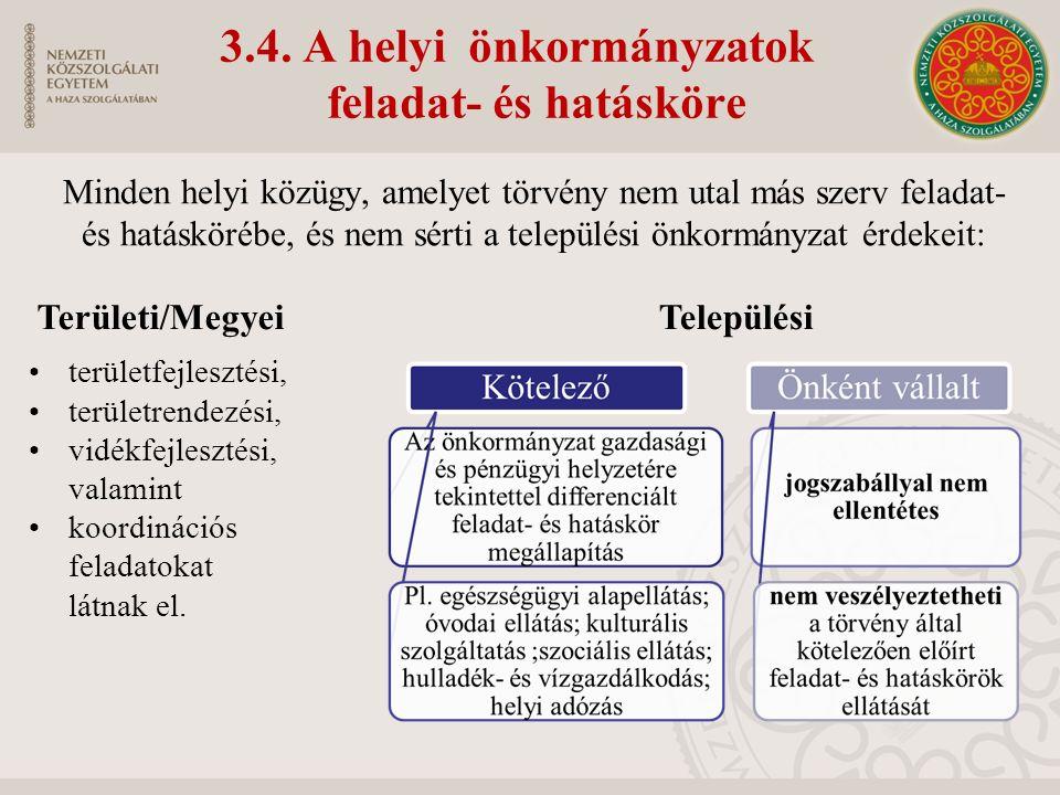3.4. A helyi önkormányzatok feladat- és hatásköre területfejlesztési, területrendezési, vidékfejlesztési, valamint koordinációs feladatokat látnak el.