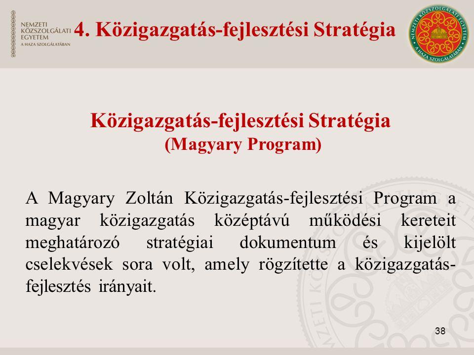 Közigazgatás-fejlesztési Stratégia (Magyary Program) A Magyary Zoltán Közigazgatás-fejlesztési Program a magyar közigazgatás középtávú működési kereteit meghatározó stratégiai dokumentum és kijelölt cselekvések sora volt, amely rögzítette a közigazgatás- fejlesztés irányait.