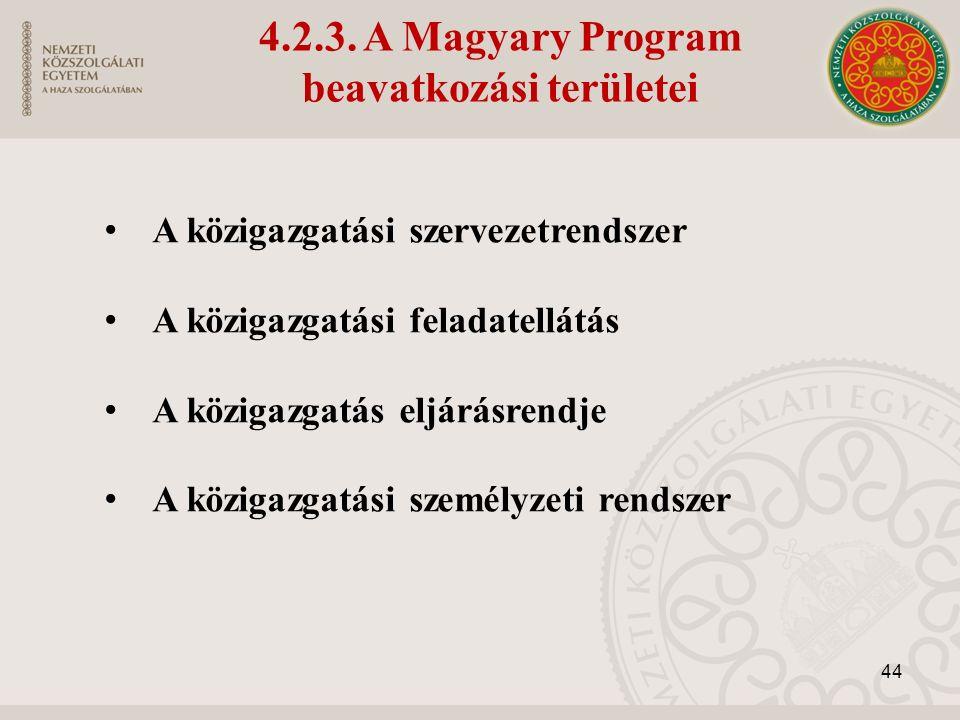 A közigazgatási szervezetrendszer A közigazgatási feladatellátás A közigazgatás eljárásrendje A közigazgatási személyzeti rendszer 44 4.2.3.