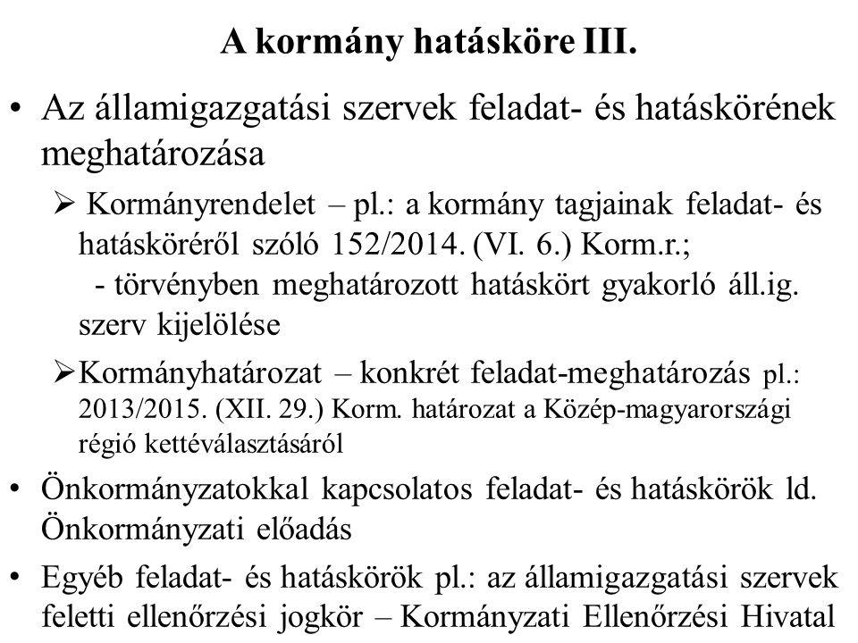 A kormány hatásköre III.