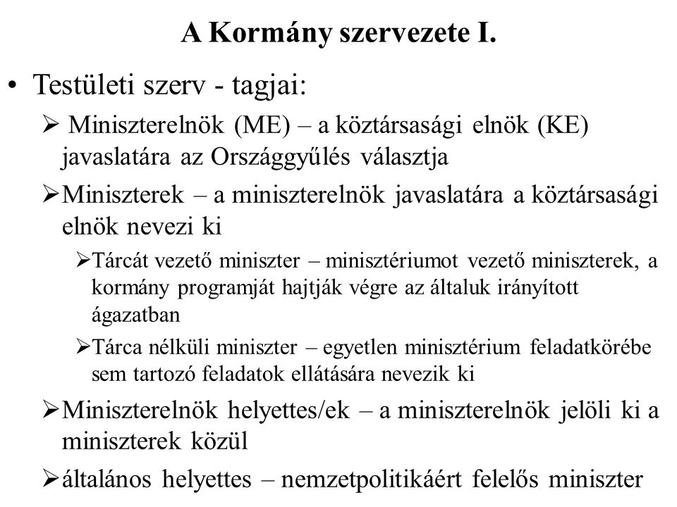 A Kormány szervezete I.