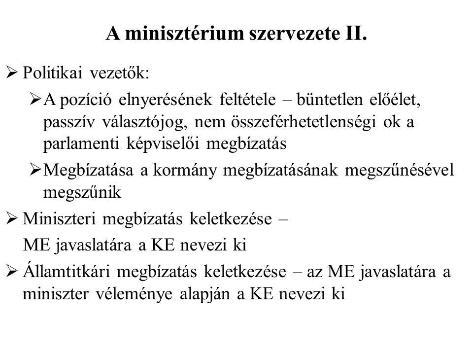 A minisztérium szervezete II.