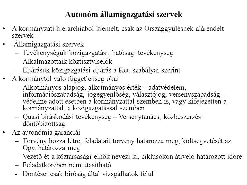 Autonóm államigazgatási szervek A kormányzati hierarchiából kiemelt, csak az Országgyűlésnek alárendelt szervek Államigazgatási szervek –Tevékenységük közigazgatási, hatósági tevékenység –Alkalmazottaik köztisztviselők –Eljárásuk közigazgatási eljárás a Ket.