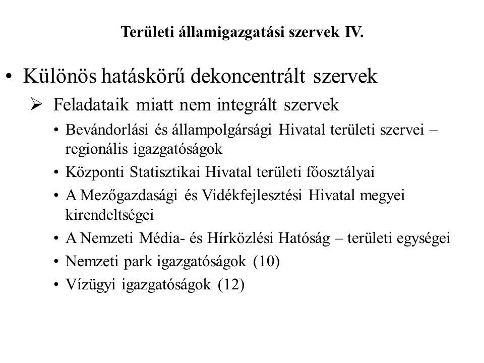 Területi államigazgatási szervek IV.