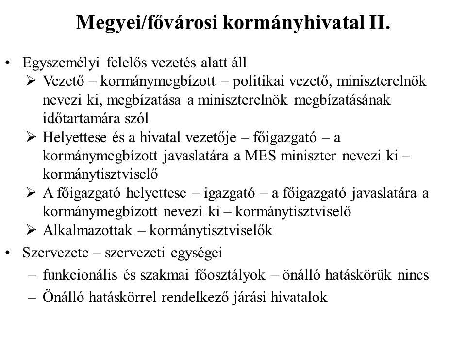 Megyei/fővárosi kormányhivatal II.