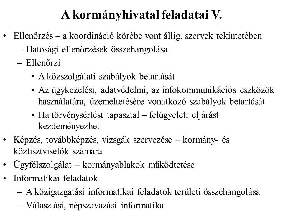 A kormányhivatal feladatai V. Ellenőrzés – a koordináció körébe vont állig.