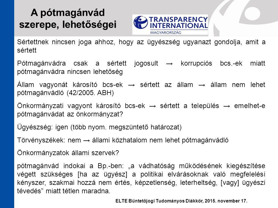 Sértettnek nincsen joga ahhoz, hogy az ügyészség ugyanazt gondolja, amit a sértett Pótmagánvádra csak a sértett jogosult → korrupciós bcs.-ek miatt pó