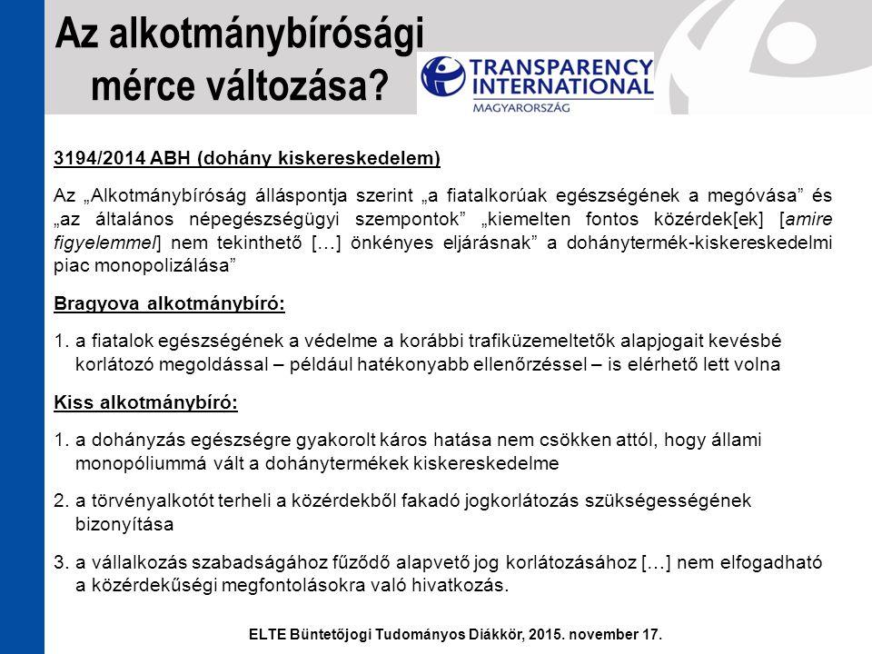 """3194/2014 ABH (dohány kiskereskedelem) Az """"Alkotmánybíróság álláspontja szerint """"a fiatalkorúak egészségének a megóvása"""" és """"az általános népegészségü"""