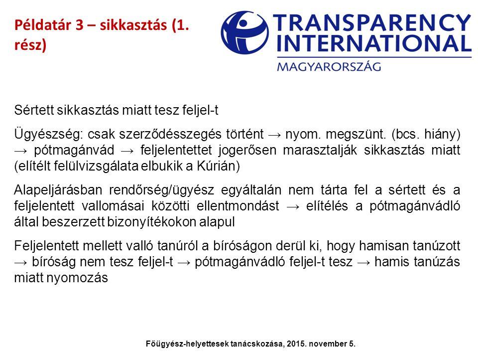 Példatár 3 – sikkasztás (1. rész) Sértett sikkasztás miatt tesz feljel-t Ügyészség: csak szerződésszegés történt → nyom. megszünt. (bcs. hiány) → pótm