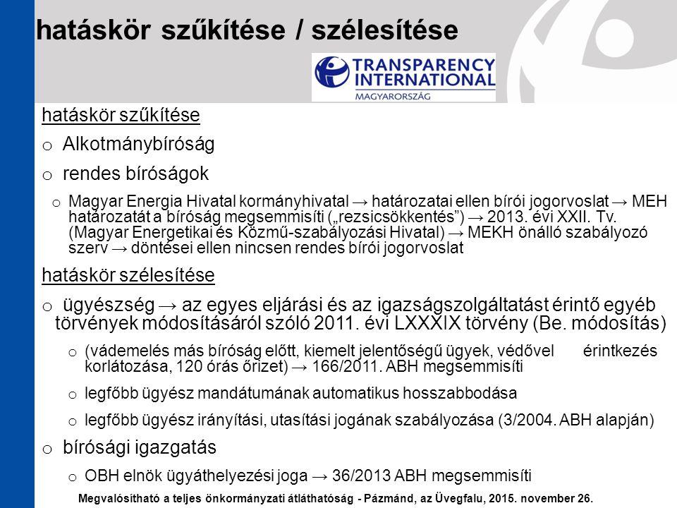 hatáskör szűkítése o Alkotmánybíróság o rendes bíróságok o Magyar Energia Hivatal kormányhivatal → határozatai ellen bírói jogorvoslat → MEH határozat