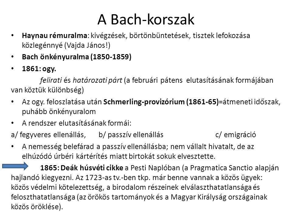 A Bach-korszak Haynau rémuralma: kivégzések, börtönbüntetések, tisztek lefokozása közlegénnyé (Vajda János!) Bach önkényuralma (1850-1859) 1861: ogy.