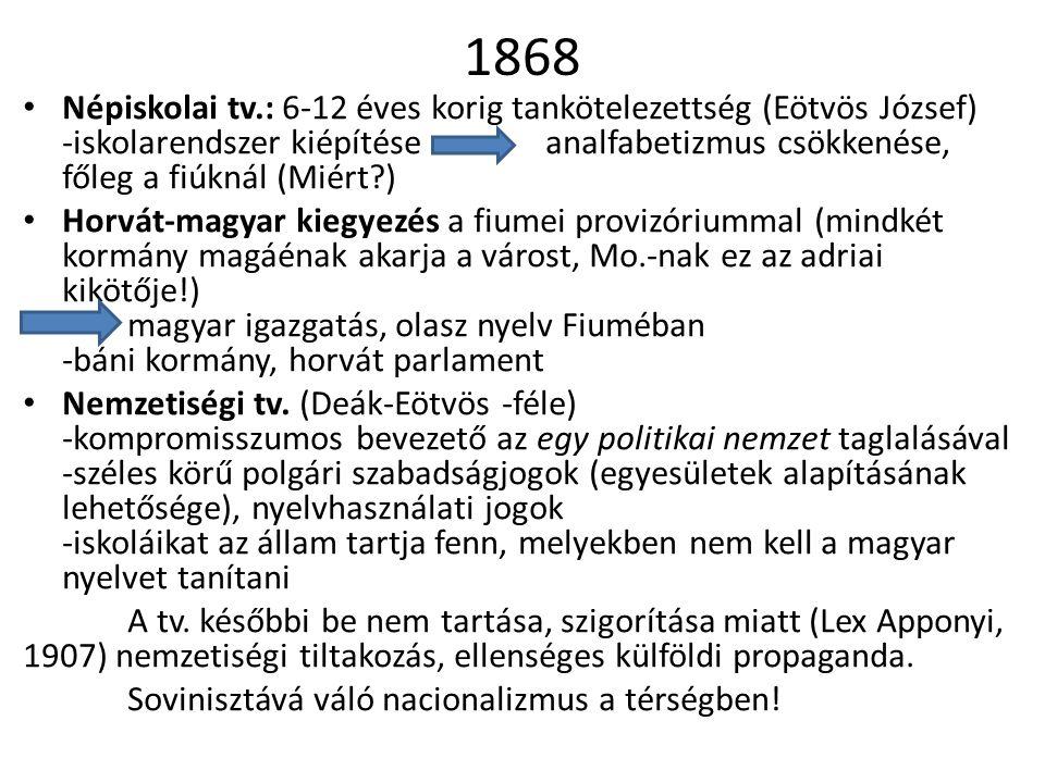 1868 Népiskolai tv.: 6-12 éves korig tankötelezettség (Eötvös József) -iskolarendszer kiépítéseanalfabetizmus csökkenése, főleg a fiúknál (Miért?) Hor
