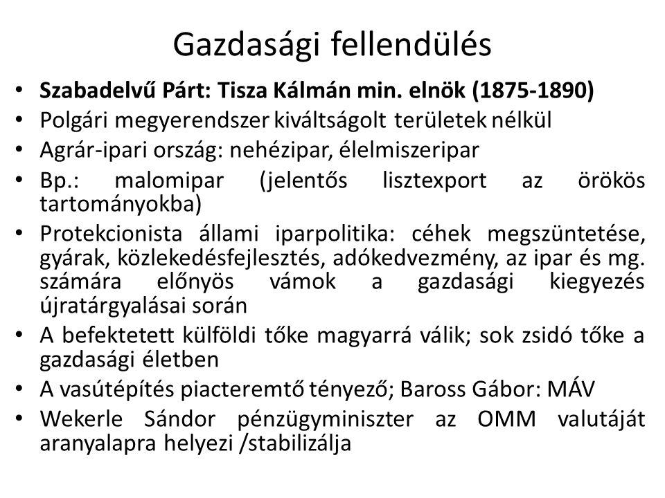 Gazdasági fellendülés Szabadelvű Párt: Tisza Kálmán min. elnök (1875-1890) Polgári megyerendszer kiváltságolt területek nélkül Agrár-ipari ország: neh