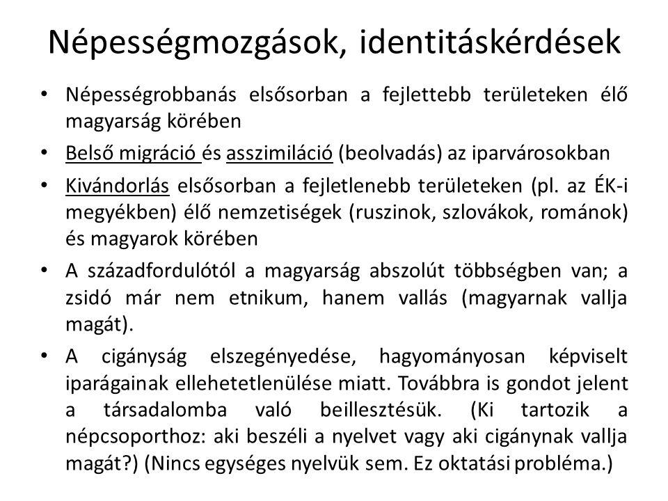 Népességmozgások, identitáskérdések Népességrobbanás elsősorban a fejlettebb területeken élő magyarság körében Belső migráció és asszimiláció (beolvad
