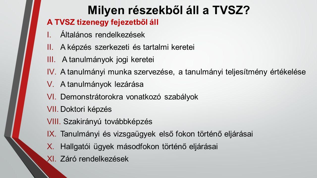 Milyen részekből áll a TVSZ? A TVSZ tizenegy fejezetből áll I.Általános rendelkezések II.A képzés szerkezeti és tartalmi keretei III. A tanulmányok jo