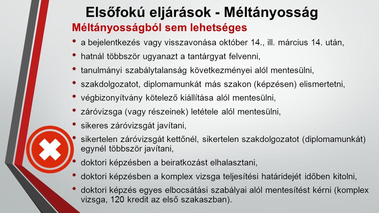 Elsőfokú eljárások - Méltányosság Méltányosságból sem lehetséges a bejelentkezés vagy visszavonása október 14., ill. március 14. után, hatnál többször