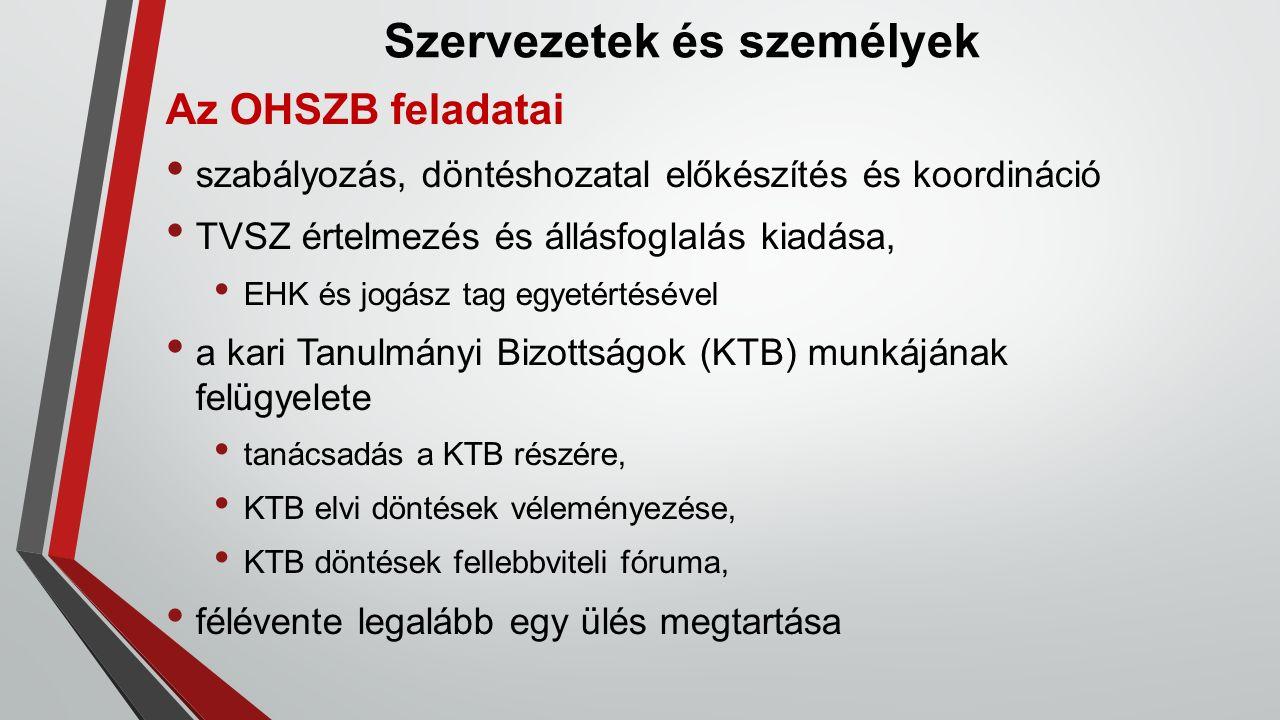 Szervezetek és személyek Az OHSZB feladatai szabályozás, döntéshozatal előkészítés és koordináció TVSZ értelmezés és állásfoglalás kiadása, EHK és jog