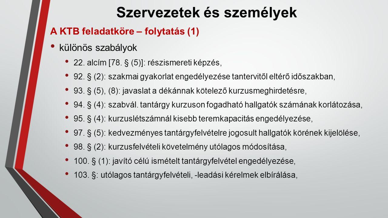 Szervezetek és személyek A KTB feladatköre – folytatás (1) különös szabályok 22.