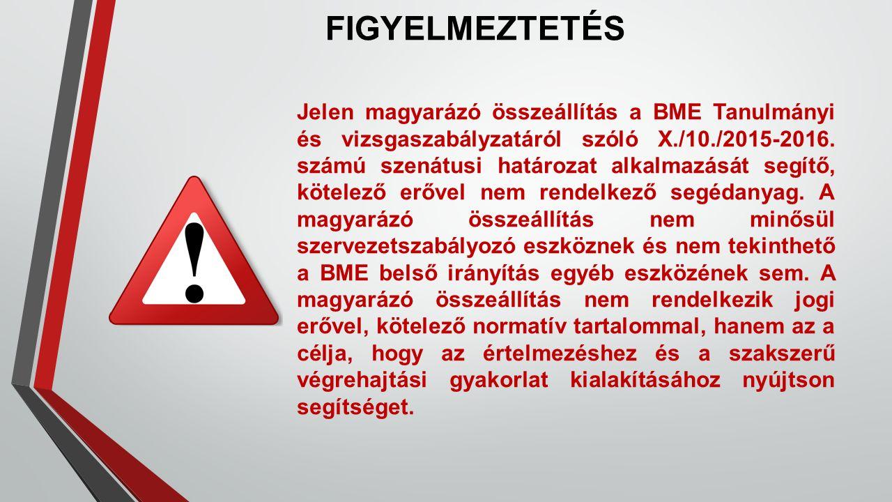 FIGYELMEZTETÉS Jelen magyarázó összeállítás a BME Tanulmányi és vizsgaszabályzatáról szóló X./10./2015-2016.