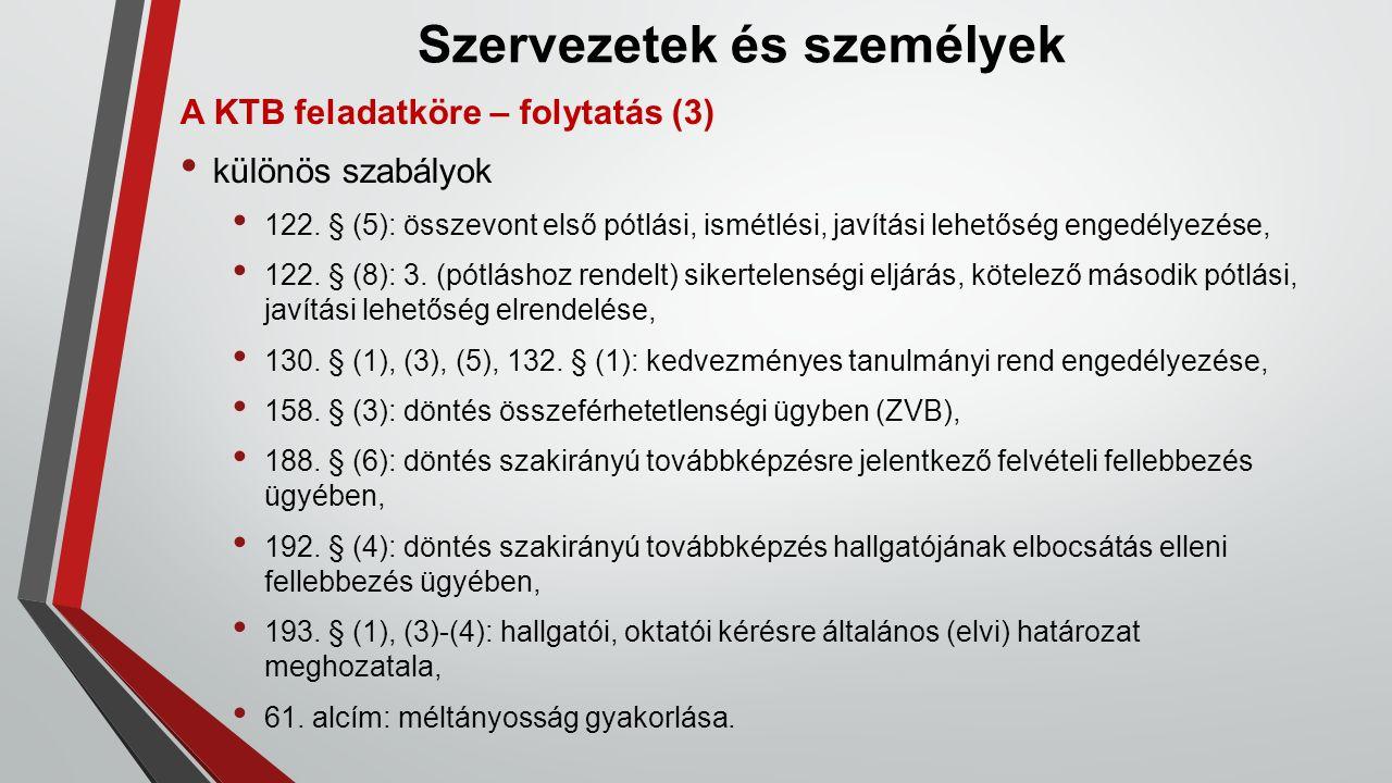 Szervezetek és személyek A KTB feladatköre – folytatás (3) különös szabályok 122.