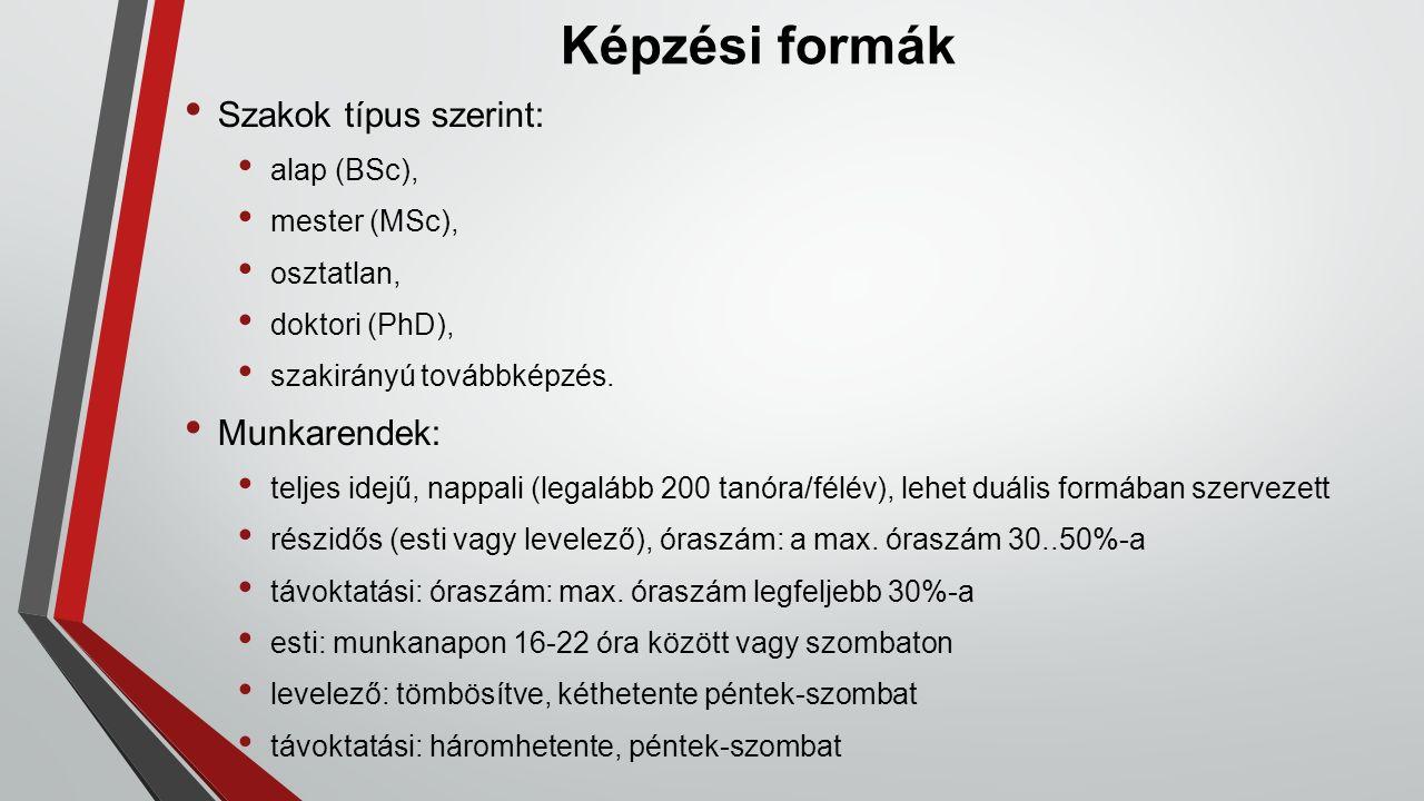 Képzési formák Szakok típus szerint: alap (BSc), mester (MSc), osztatlan, doktori (PhD), szakirányú továbbképzés.