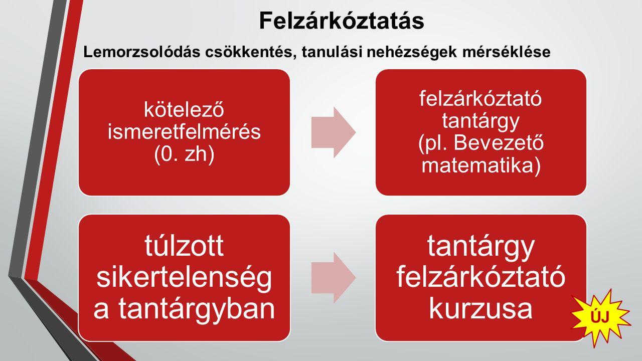 Felzárkóztatás Lemorzsolódás csökkentés, tanulási nehézségek mérséklése kötelező ismeretfelmérés (0. zh) felzárkóztató tantárgy (pl. Bevezető matemati