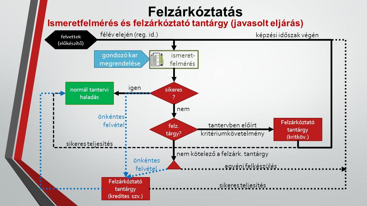 Felzárkóztatás Ismeretfelmérés és felzárkóztató tantárgy (javasolt eljárás) ismeret- felmérés sikeres .