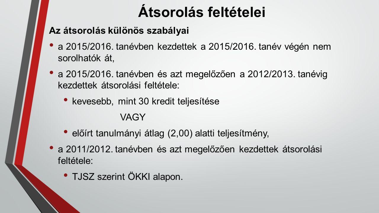 Átsorolás feltételei Az átsorolás különös szabályai a 2015/2016. tanévben kezdettek a 2015/2016. tanév végén nem sorolhatók át, a 2015/2016. tanévben