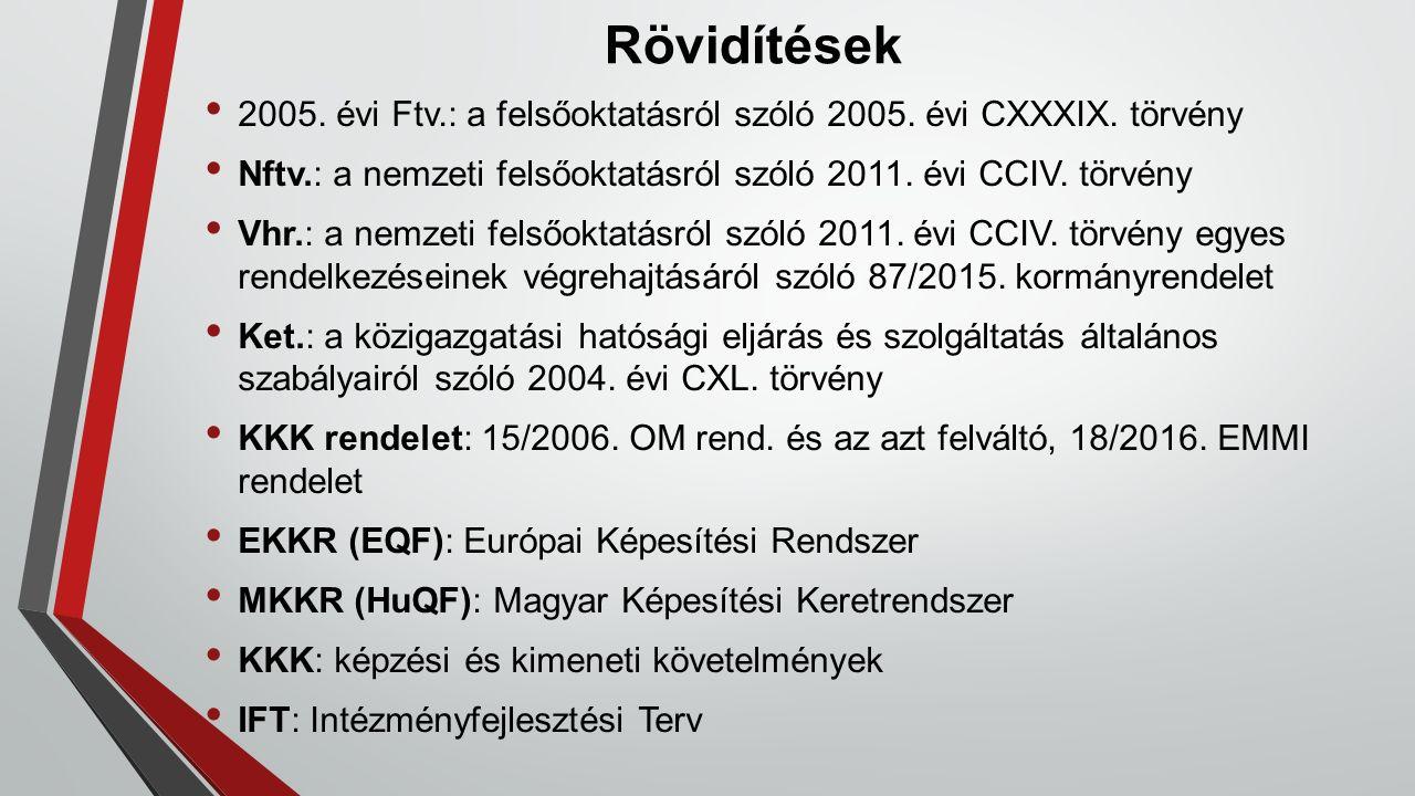Rövidítések 2005. évi Ftv.: a felsőoktatásról szóló 2005. évi CXXXIX. törvény Nftv.: a nemzeti felsőoktatásról szóló 2011. évi CCIV. törvény Vhr.: a n