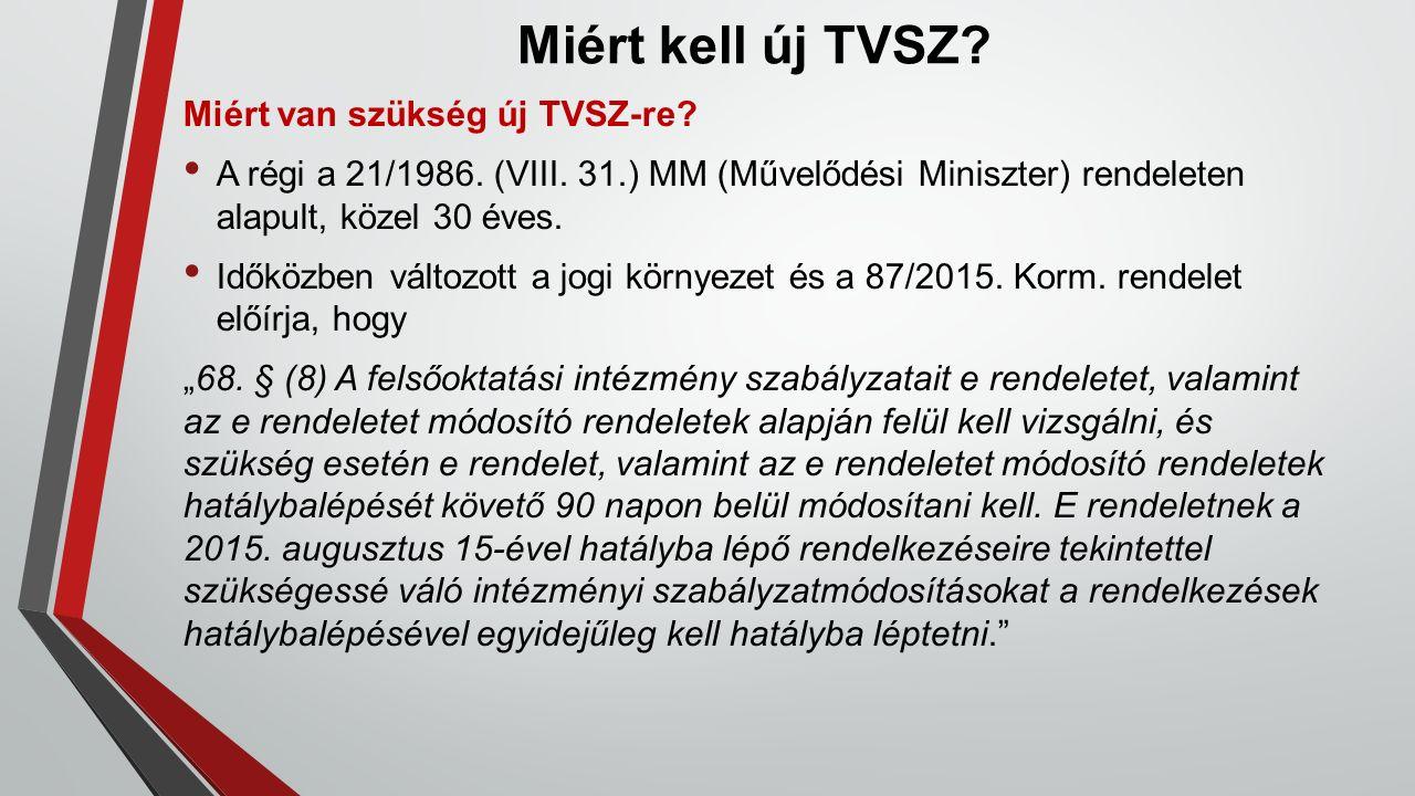Miért kell új TVSZ? Miért van szükség új TVSZ-re? A régi a 21/1986. (VIII. 31.) MM (Művelődési Miniszter) rendeleten alapult, közel 30 éves. Időközben