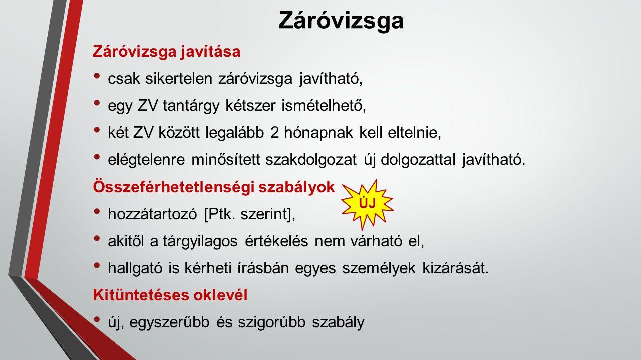 Záróvizsga Záróvizsga javítása csak sikertelen záróvizsga javítható, egy ZV tantárgy kétszer ismételhető, két ZV között legalább 2 hónapnak kell eltelnie, elégtelenre minősített szakdolgozat új dolgozattal javítható.