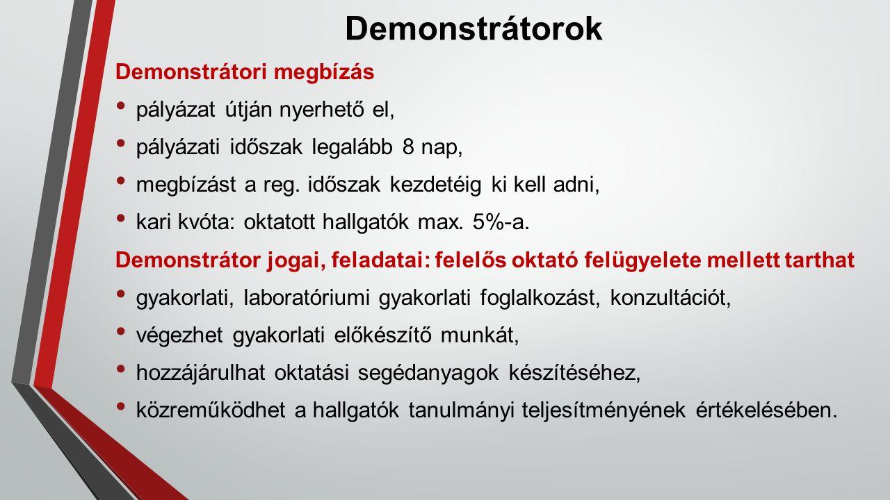Demonstrátorok Demonstrátori megbízás pályázat útján nyerhető el, pályázati időszak legalább 8 nap, megbízást a reg. időszak kezdetéig ki kell adni, k
