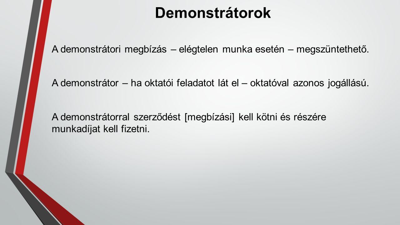 Demonstrátorok A demonstrátori megbízás – elégtelen munka esetén – megszüntethető. A demonstrátor – ha oktatói feladatot lát el – oktatóval azonos jog