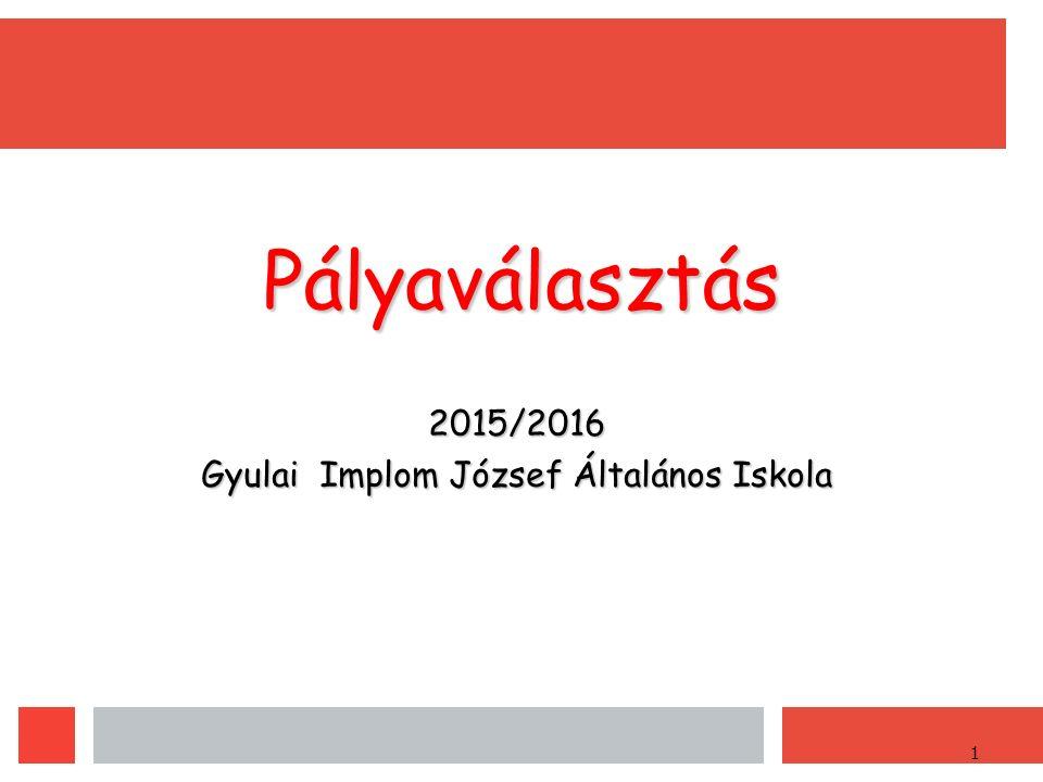 1 Pályaválasztás 2015/2016 Gyulai Implom József Általános Iskola
